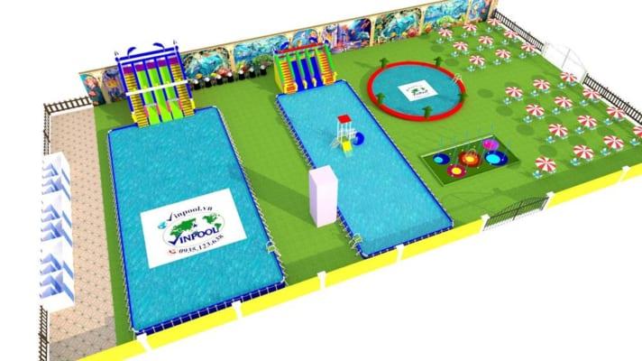 Mô hình thiết kế thi công lắp đặt hồ bơi - công viên nước di động